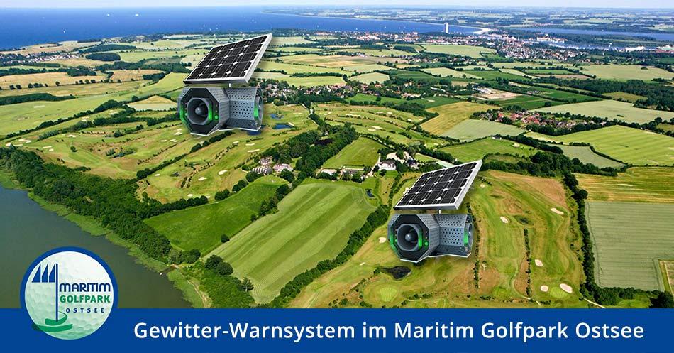 Banner - Luftaufnahme mit Text Gewitter-Warnsystem im Maritim Golfpark Ostsee