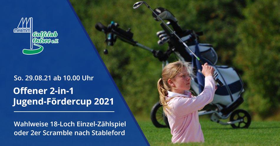 Ankündigung Jugend-Fördercup 2021 / Jugendliche Golferin beim Bunkerschlag