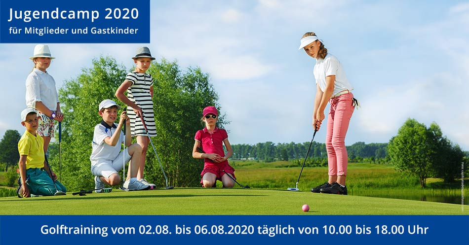 Jugendcamp 2020 - Banner mit golfenden Jugendlichen