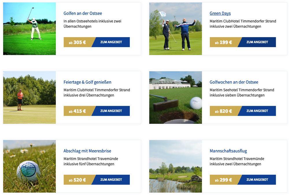 Golf-Arrangements der Maritim Ostsee-Hotels