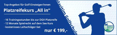 """Banner Platzreifekurs """"All in"""" inkl. 12 Monate Spielrecht auf dem See Kurs"""