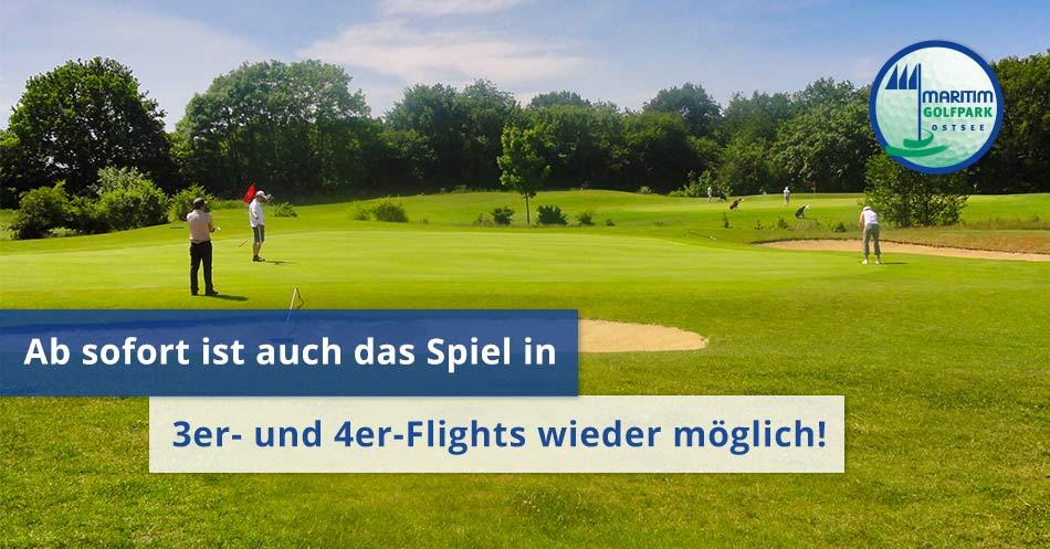 """Spielszene See Kurs Bahn 8 mit Text """"3er- und 4er Flights wieder möglich"""""""