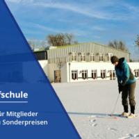 Banner Maritim Golfschule - Wintertraining Maritim Golfschule / Frau Puttet Auf Grün Im Schnee